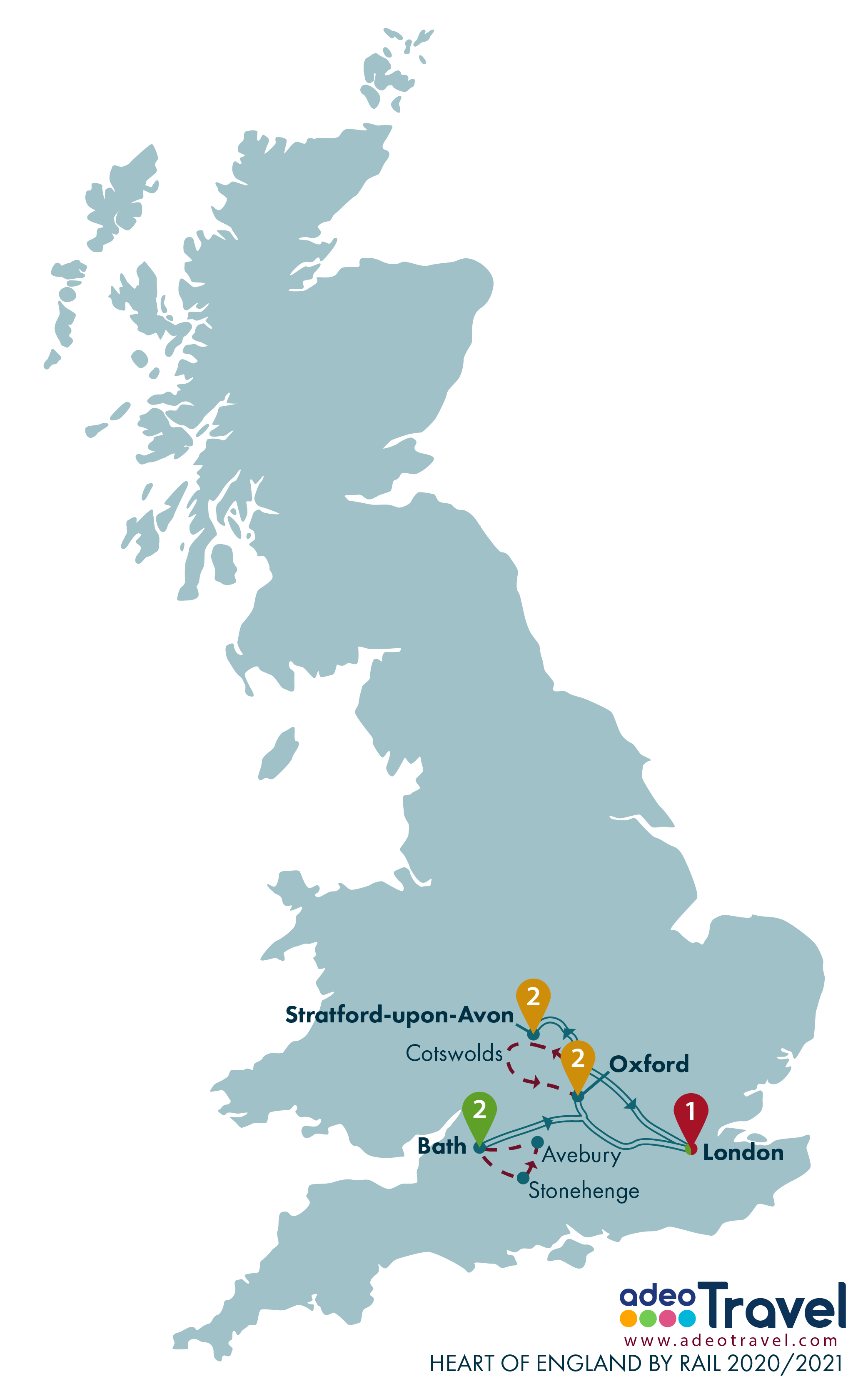 Map - Heart of England by Rail 2020 2021 + day tours