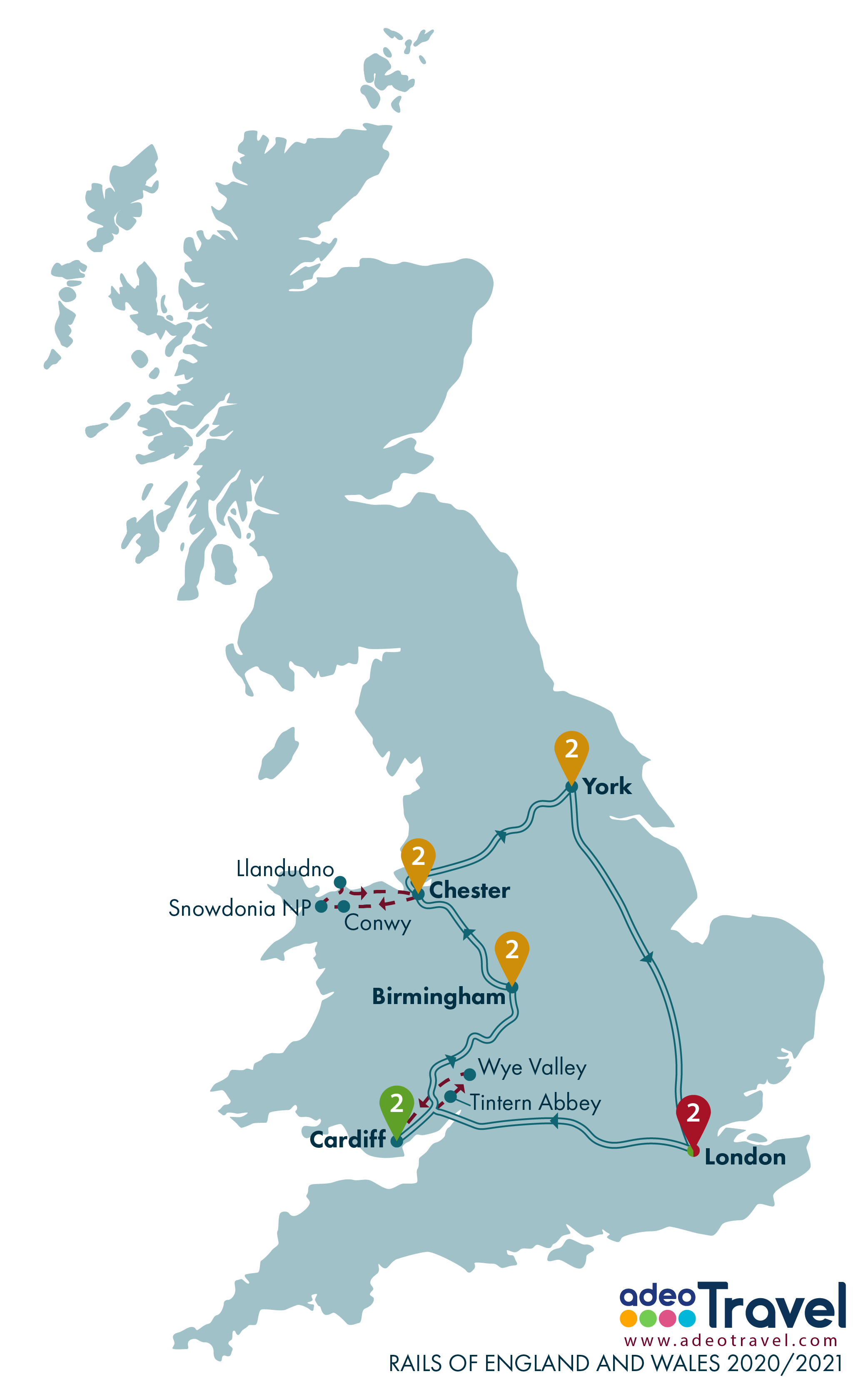 Map - Rails of England and Wales 2020 2021 + day tours