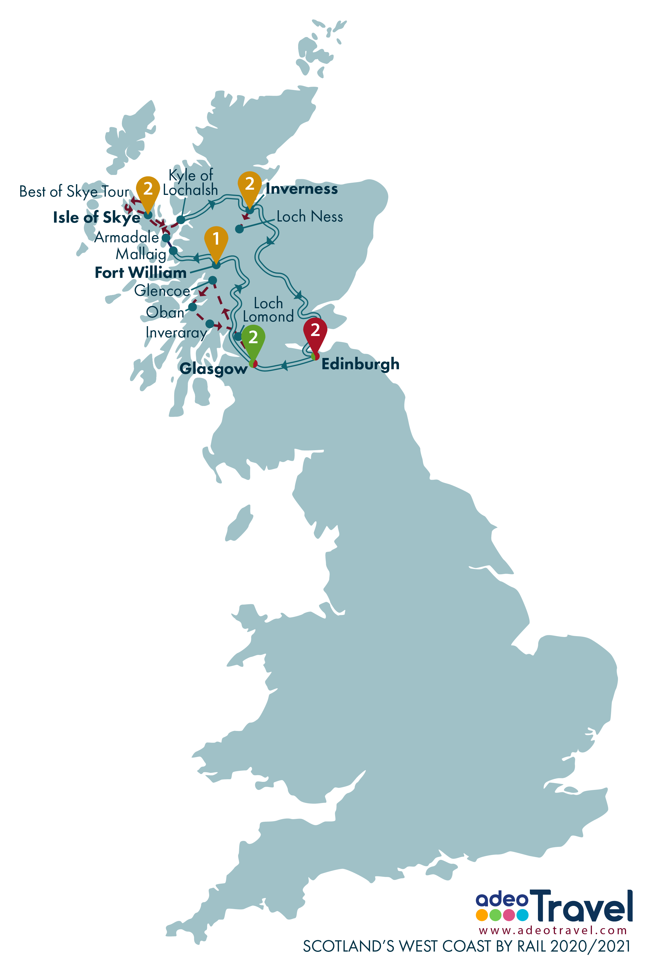 Map - Scotland's West Coast by Rail 2020 2021 + day tours