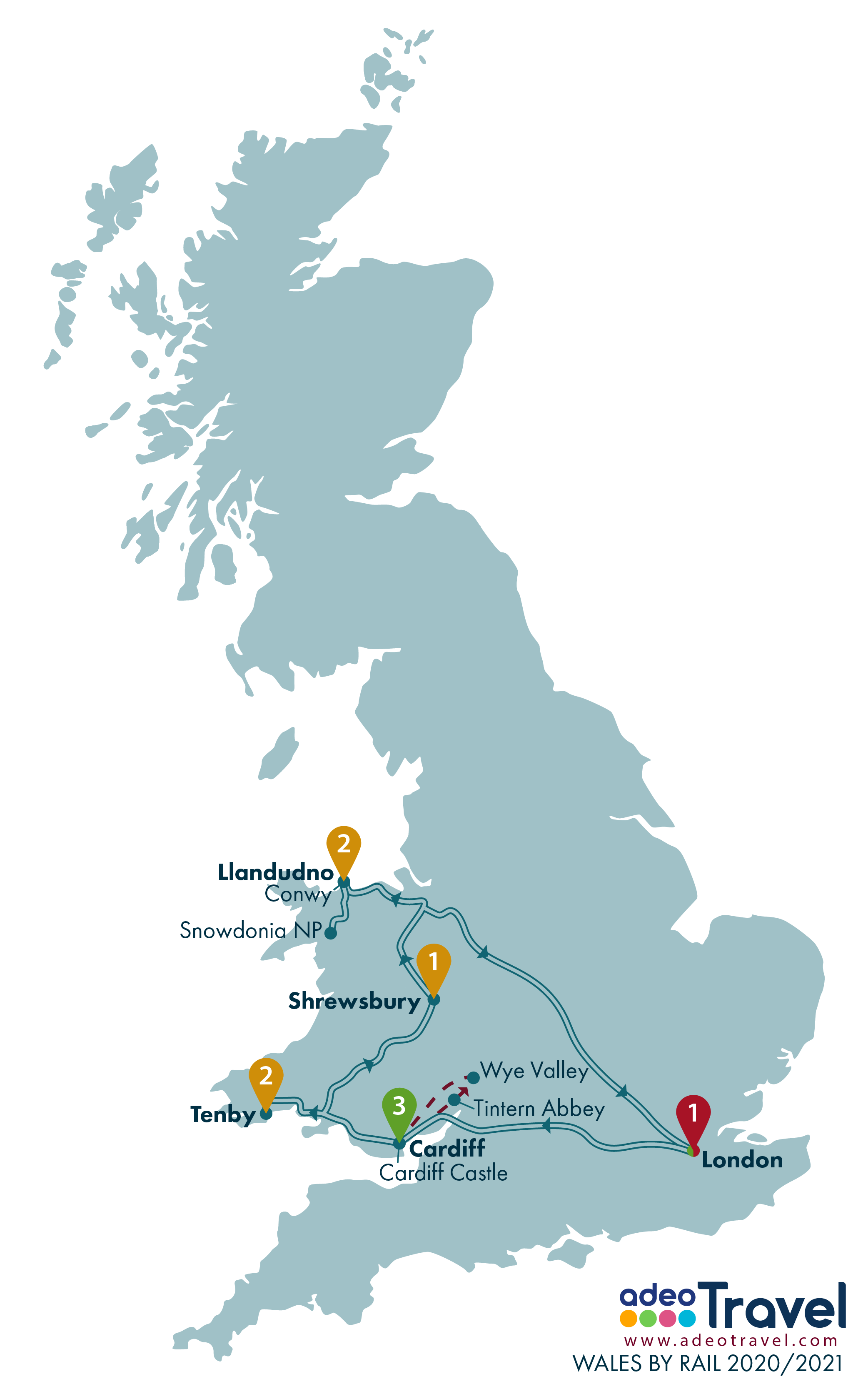 Map - Wales by Rail 2020 2021 + day tours