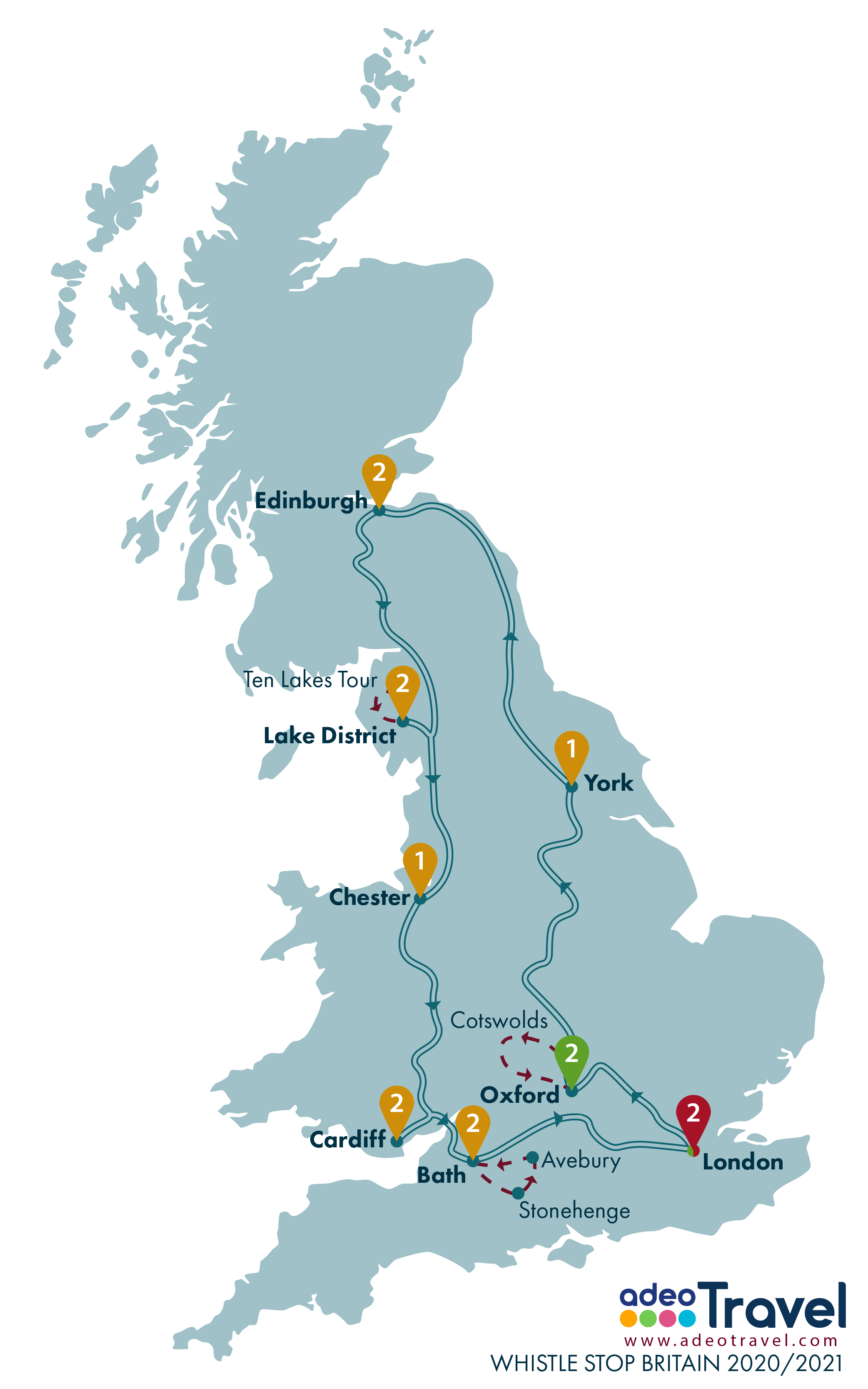 Map - Whistle Stop Britain 2020 2021 + day tours