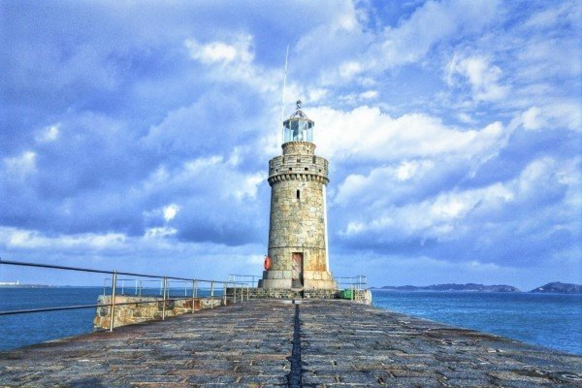 Lighthouse at Castle Cornet, Guernsey, Channel Islands, England