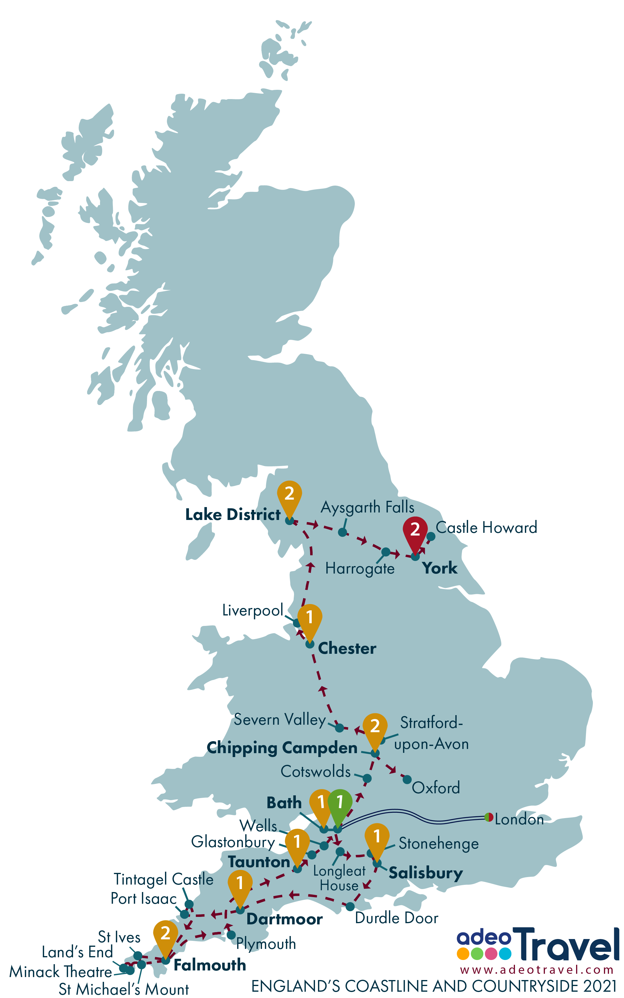 Map - England's Coastline and Countryside 2021