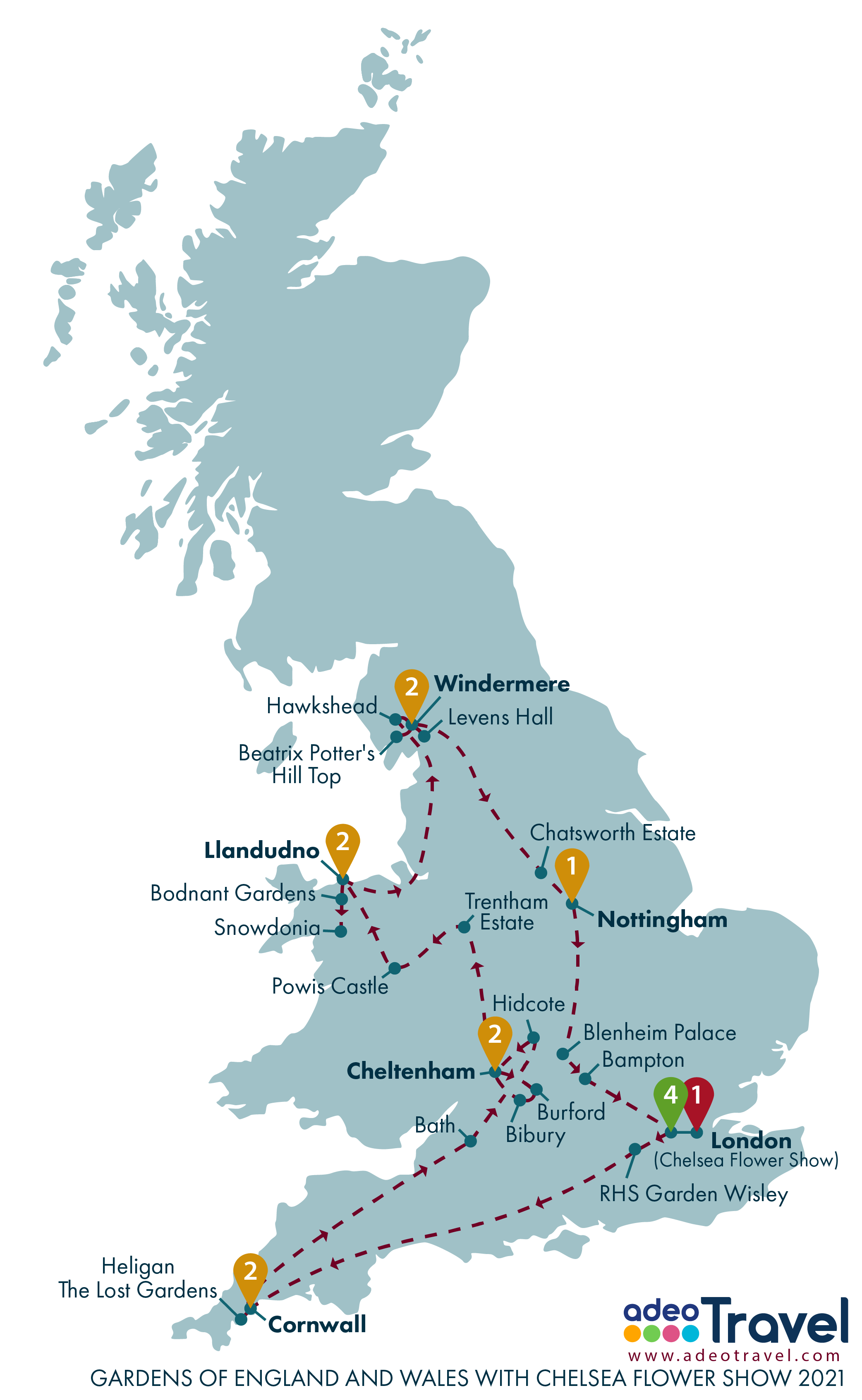 Map - Gardens of England and Wales with Chelsea Flower Show 2021