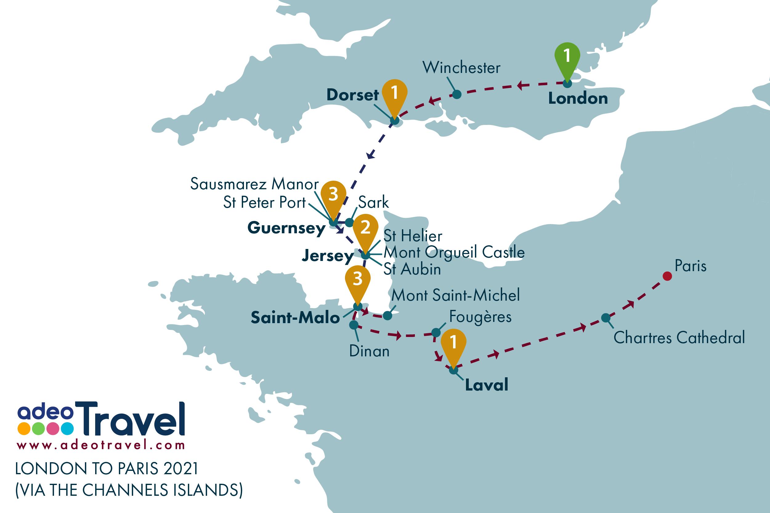 Map - London to Paris via the Channel Island 2021