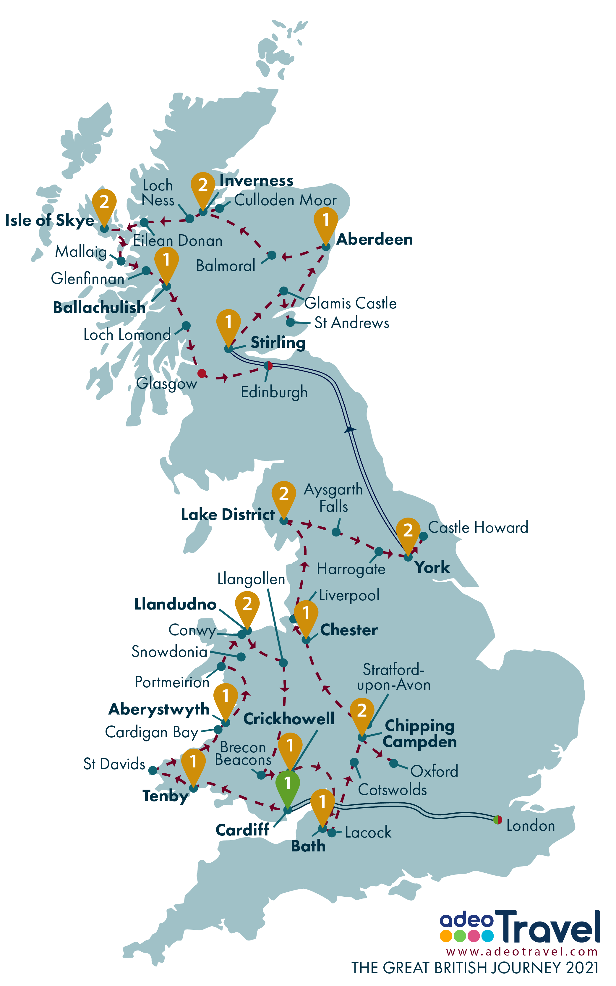 Map - The Great British Journey 2021