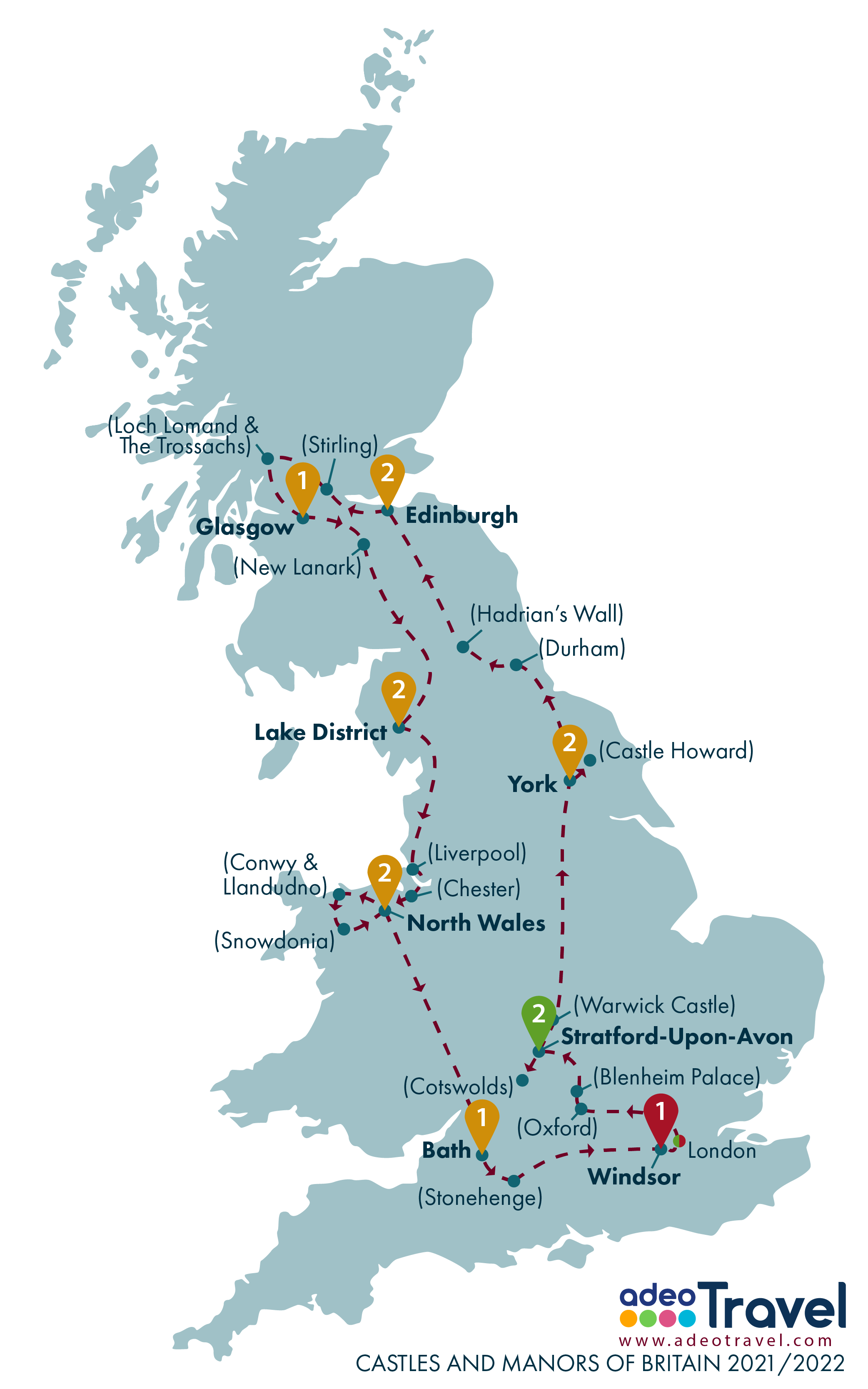 Map - Castles and Manors of Britain 2021 2022