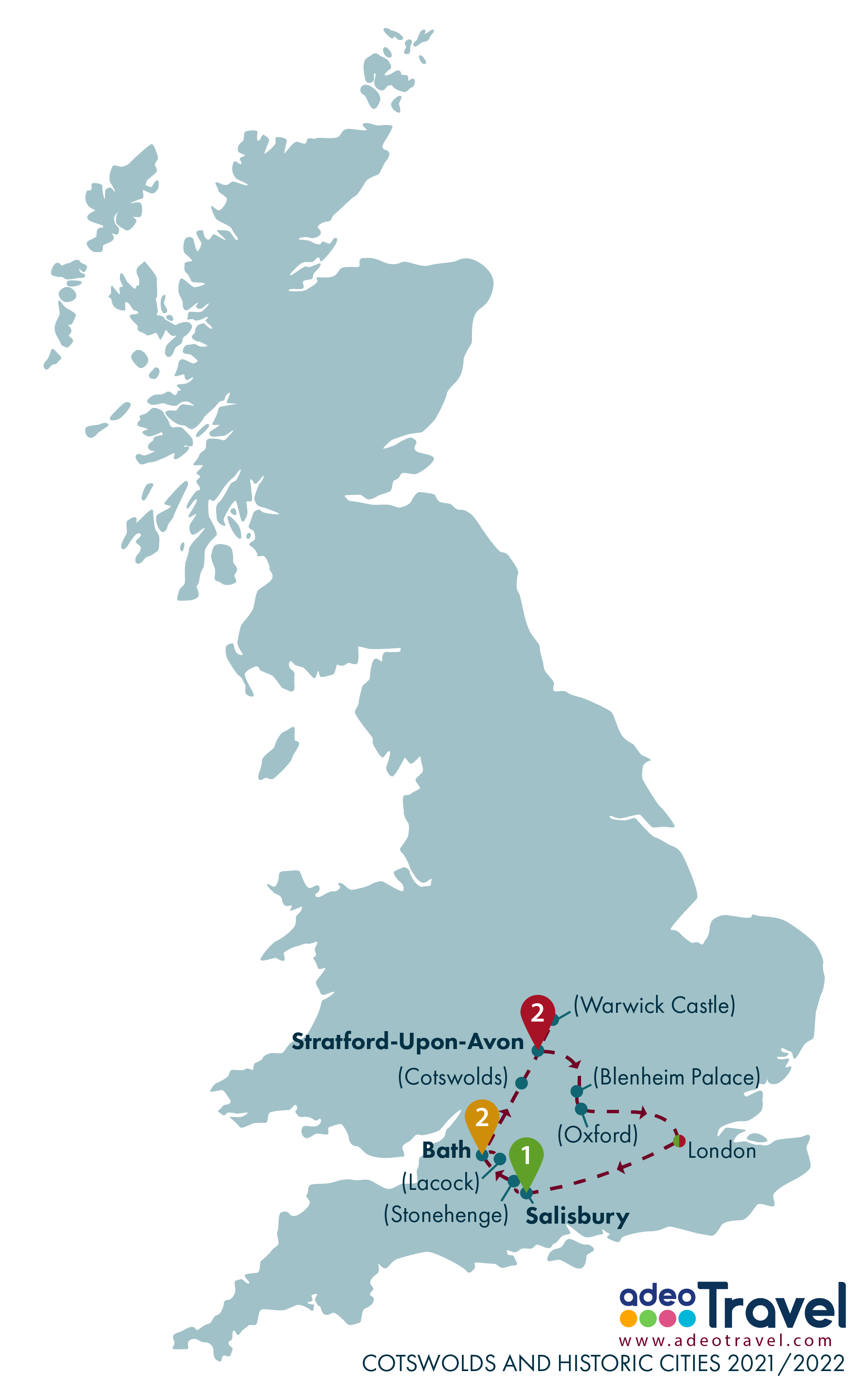 Map - Cotswolds and Historic Cities 2021 2022