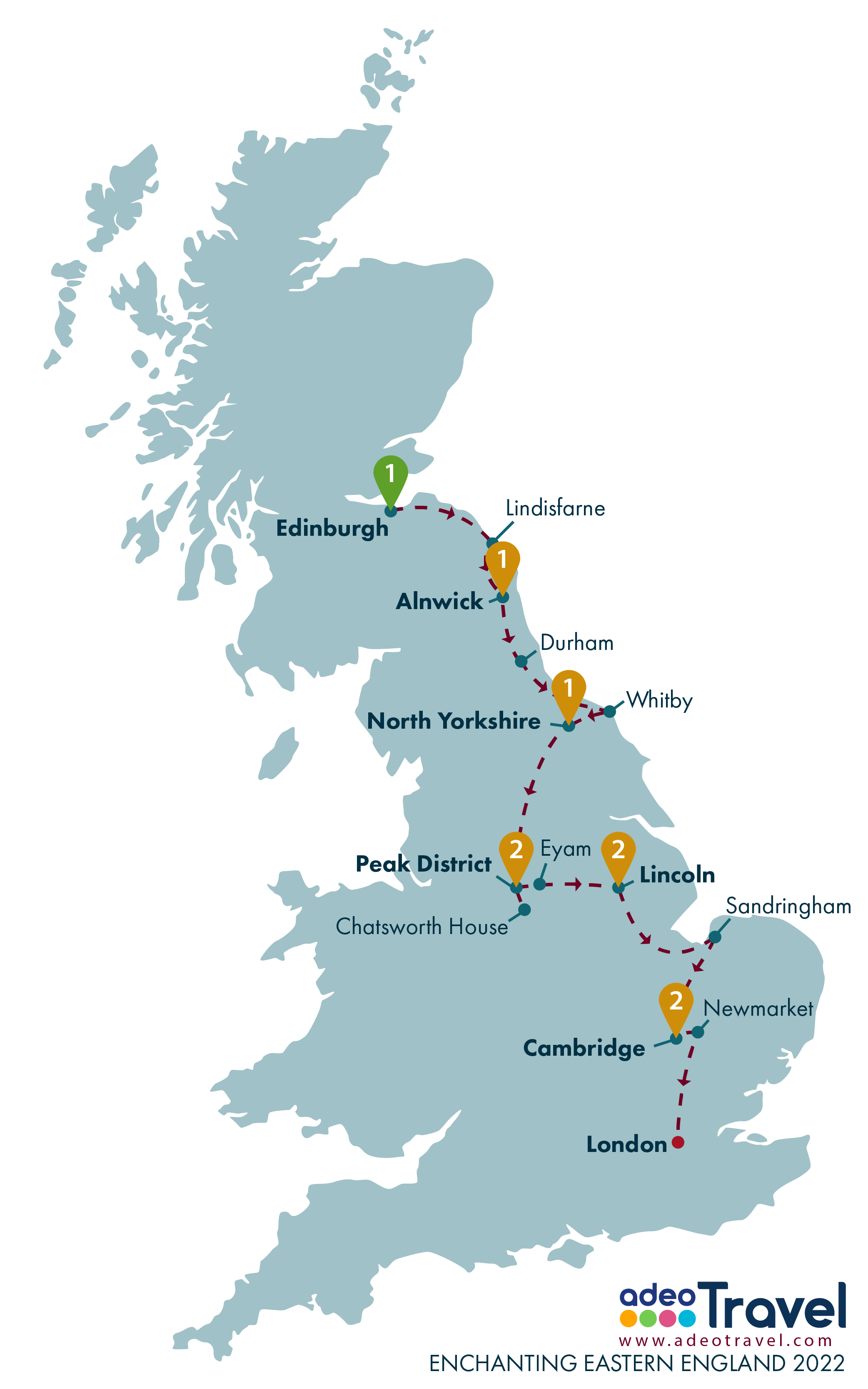 Map - Enchanting Eastern England 2022