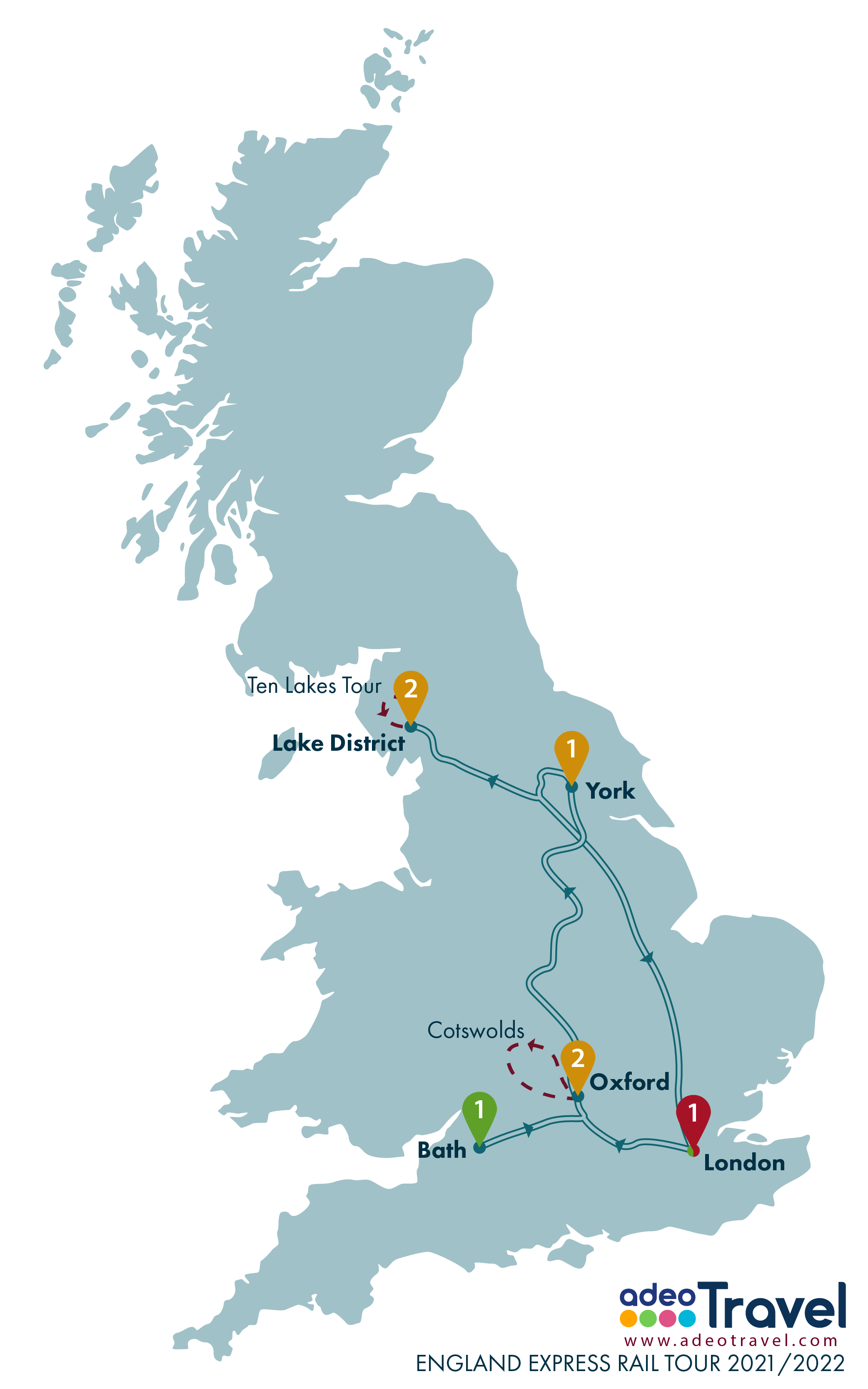 Map - England Express Rail Tour 2021 2022 + day tours