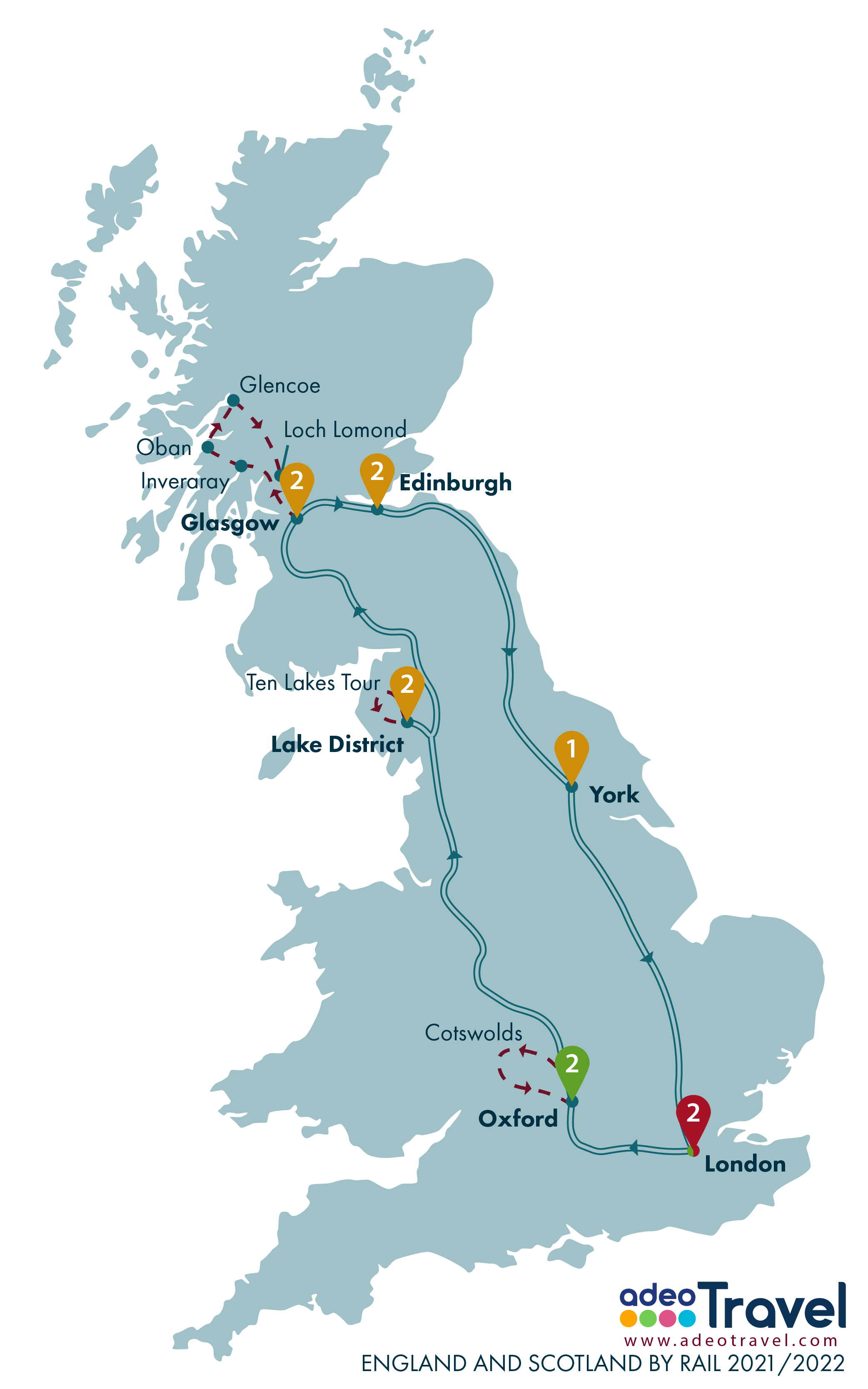 Map - England and Scotland by Rail 2021 2022 + day tours
