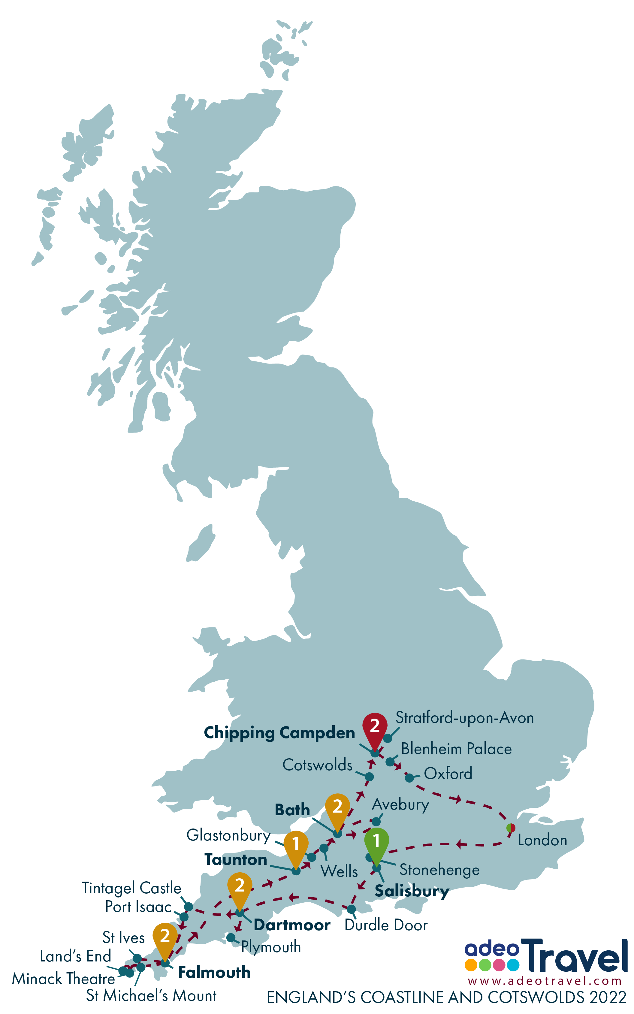 Map - England's Coastline and Cotswolds 2022