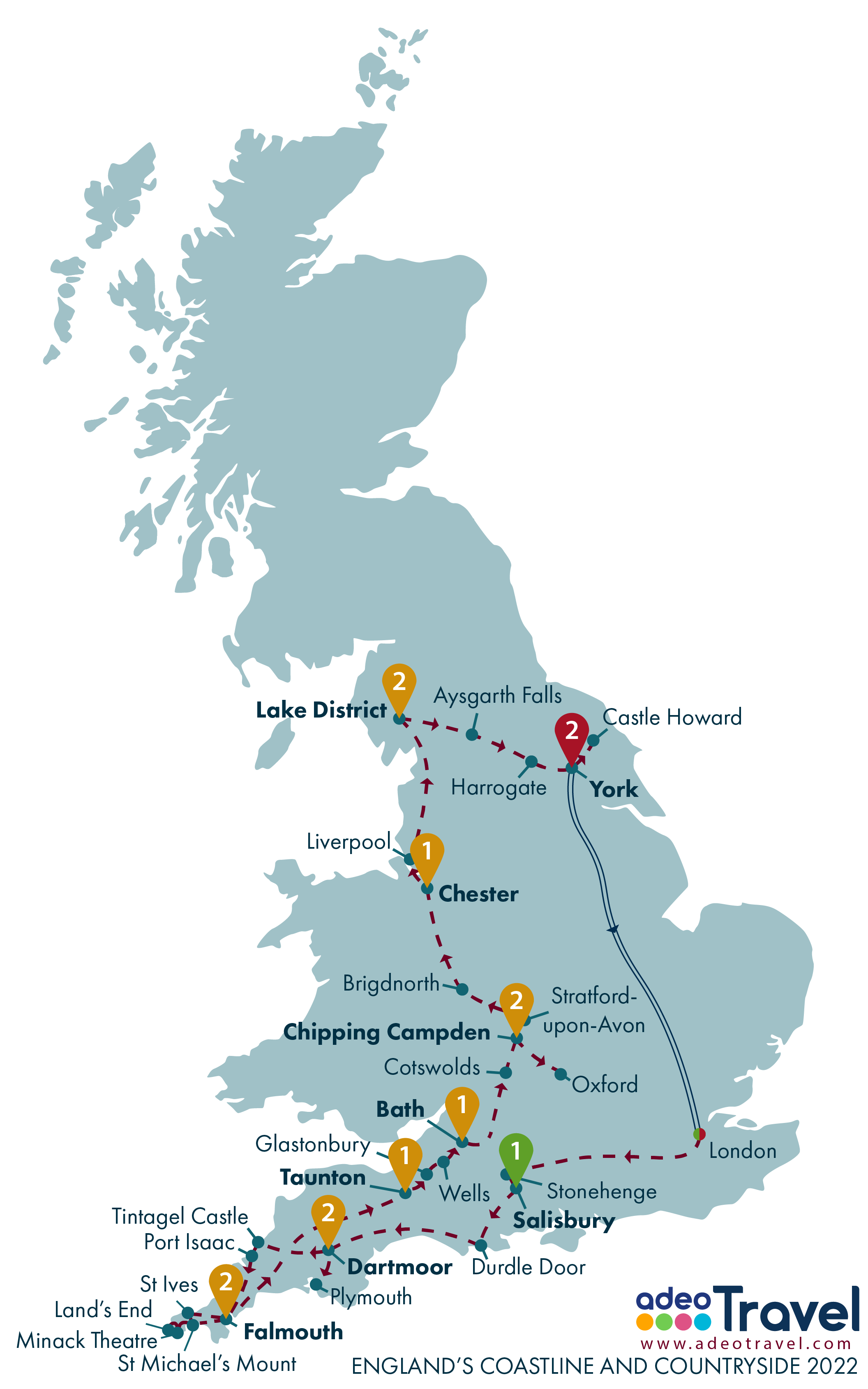 Map - England's Coastline and Countryside 2022
