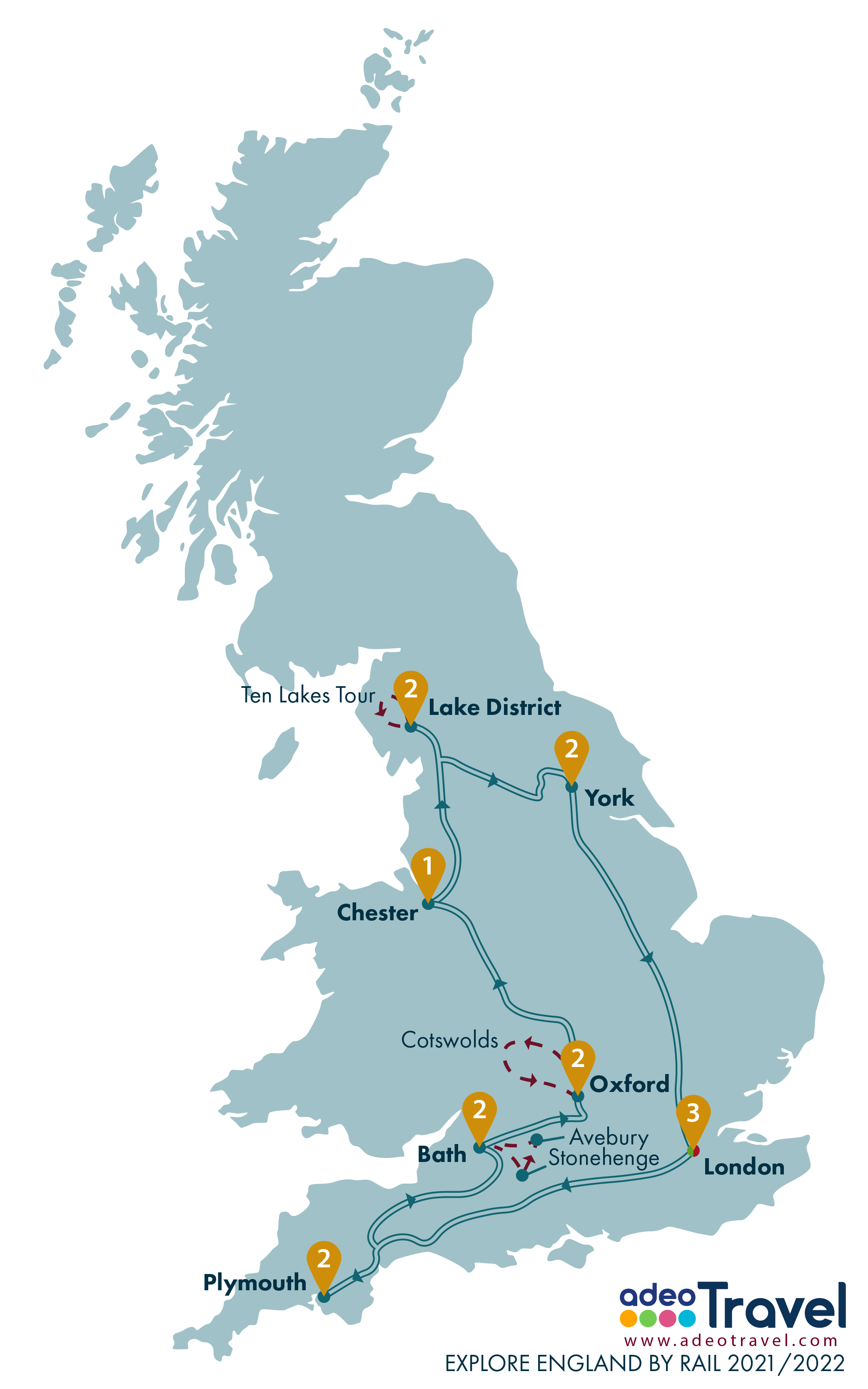 Map - Explore England by Rail 2021 2022 + day tours