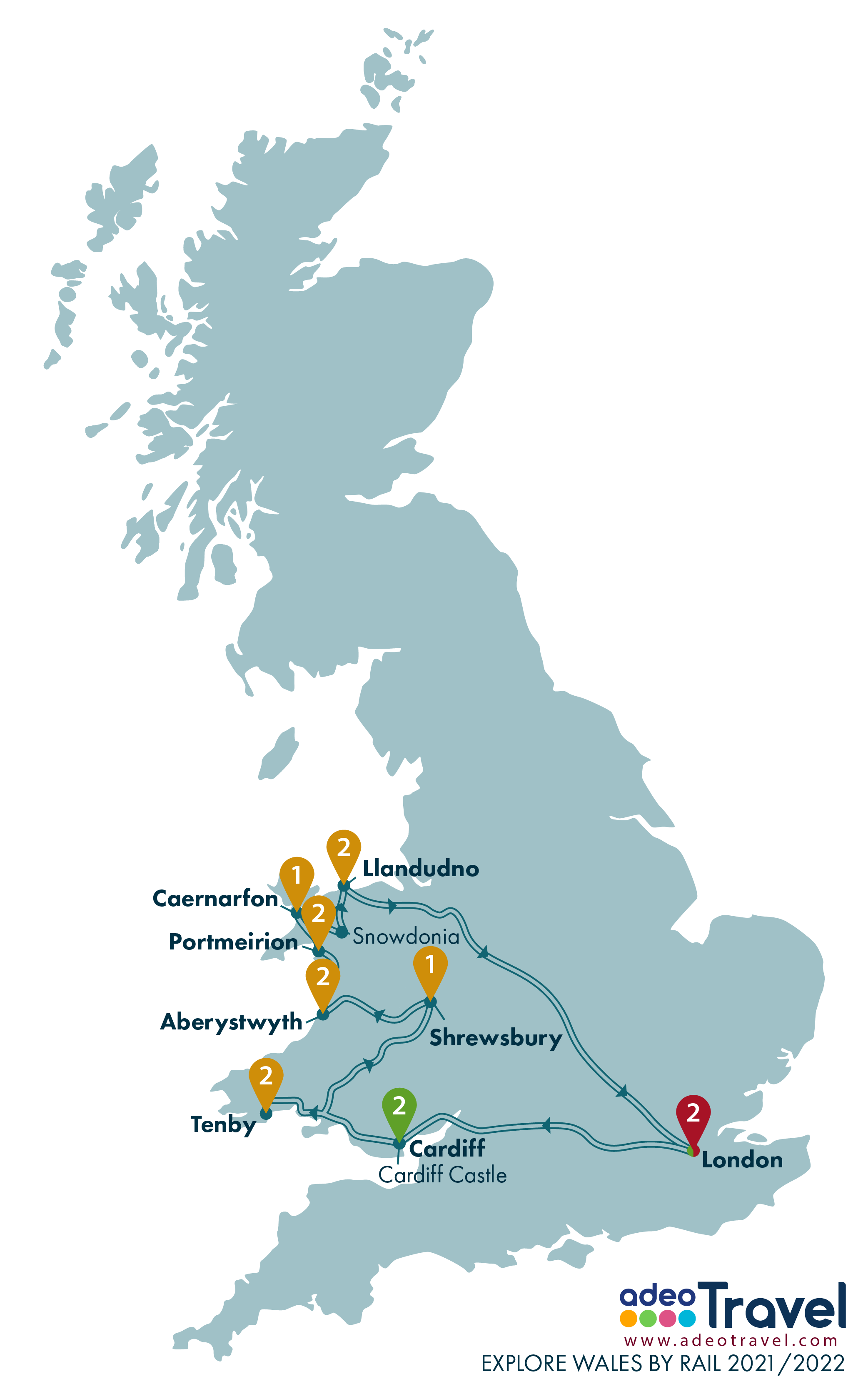 Map - Explore Wales by Rail 2021 2022