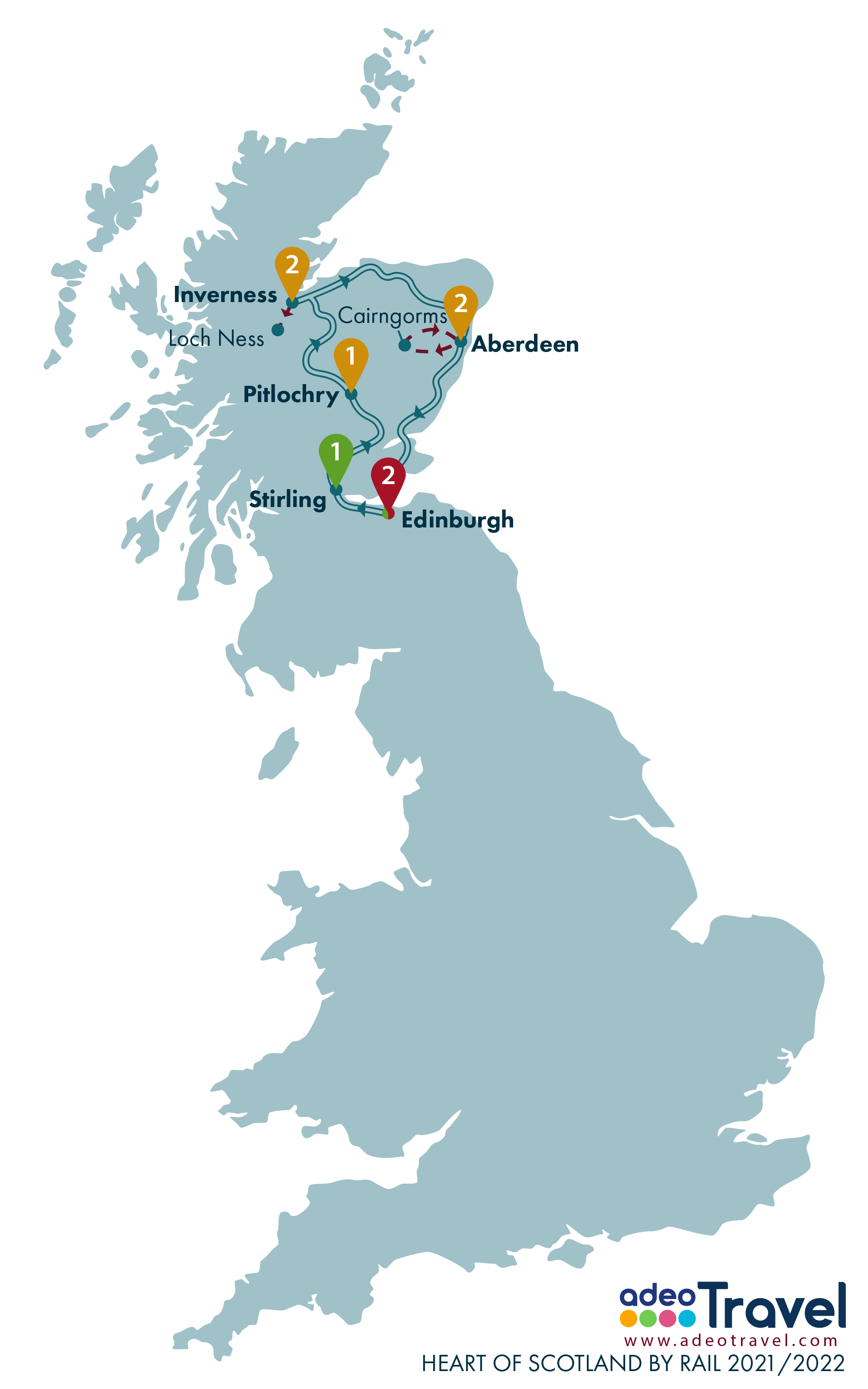 Map - Heart of Scotland by Rail 2021 2022 + day tours