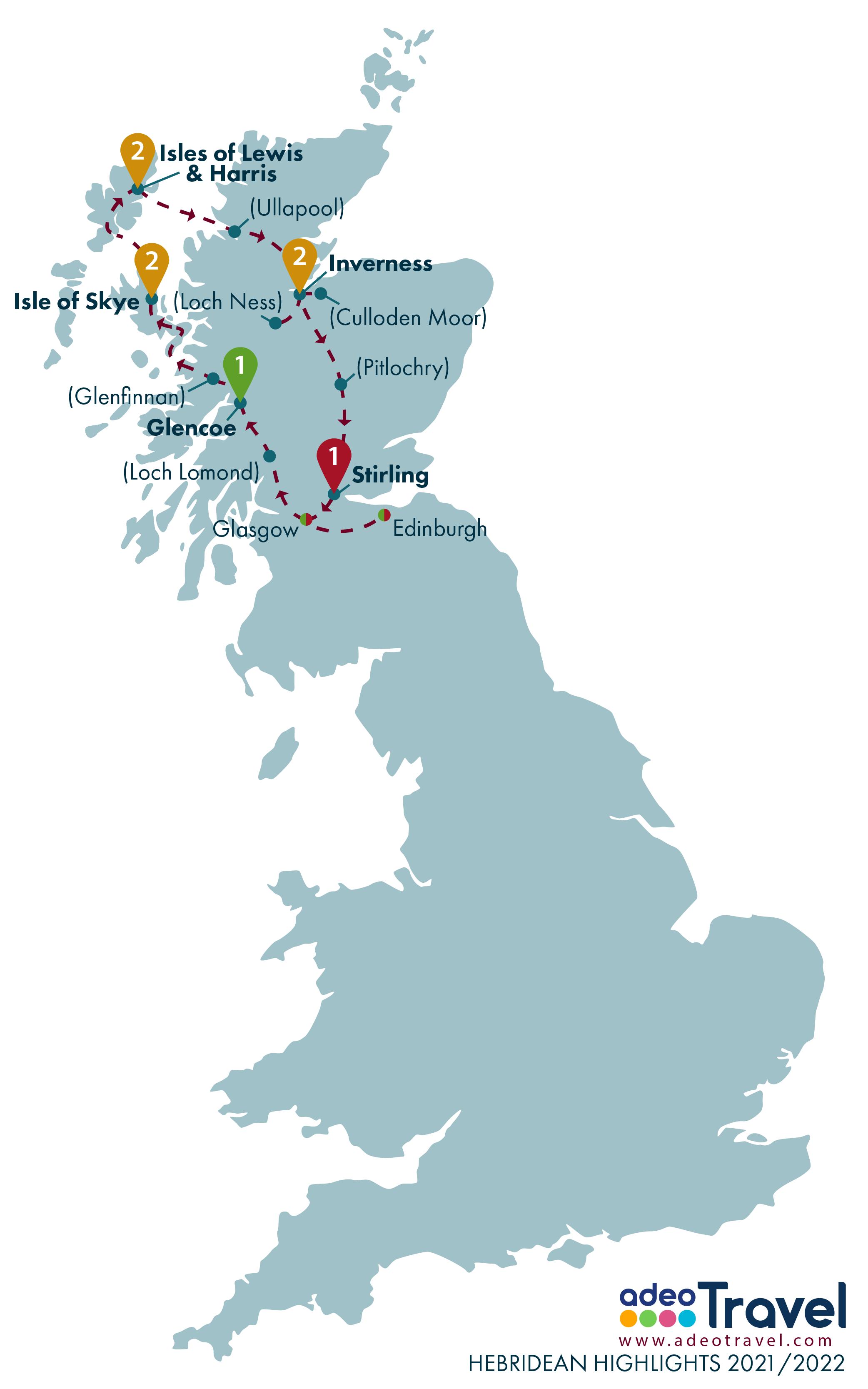 Map - Hebridean Highlights 2021 2022