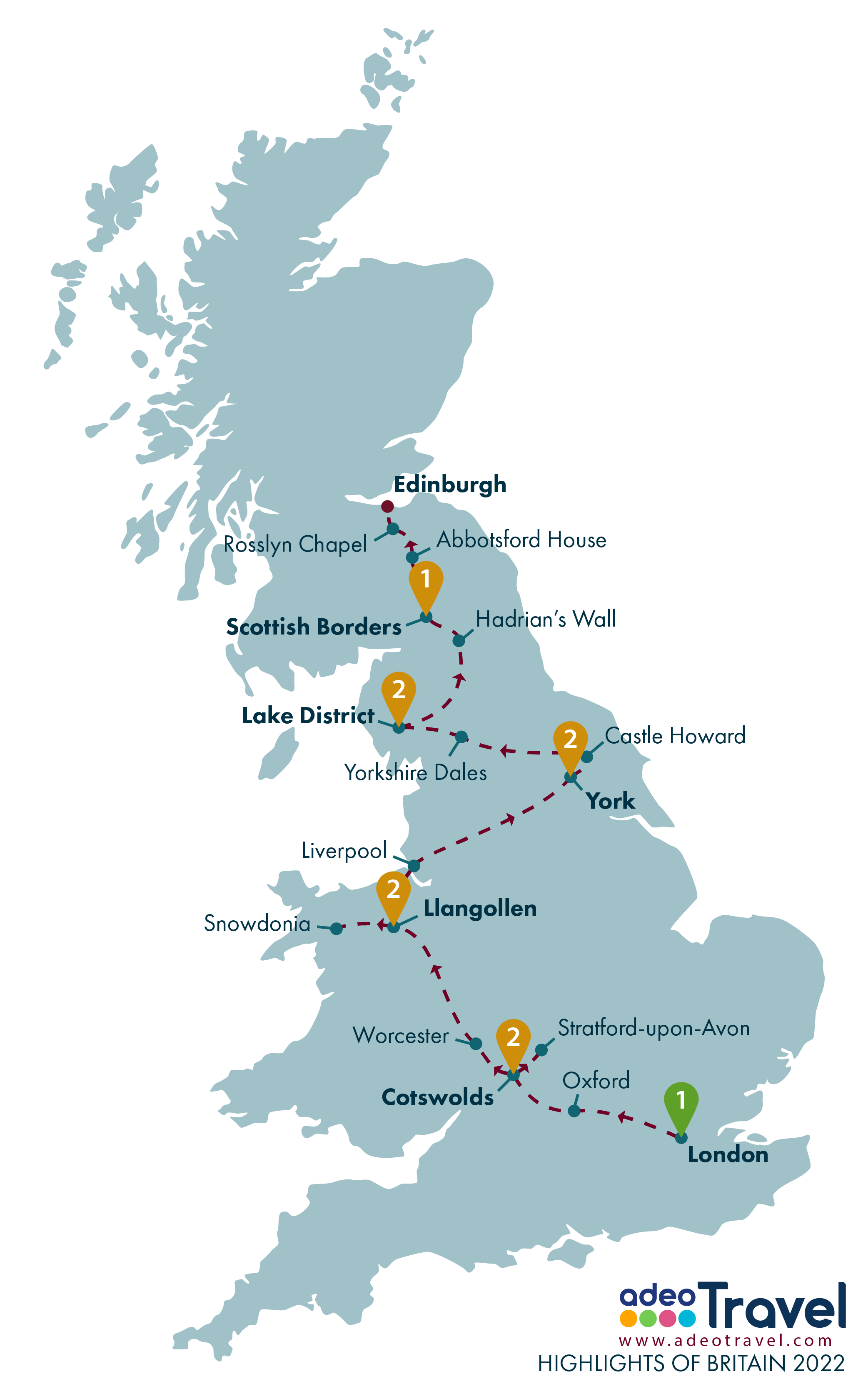 Map - Highlights of Britain 2022