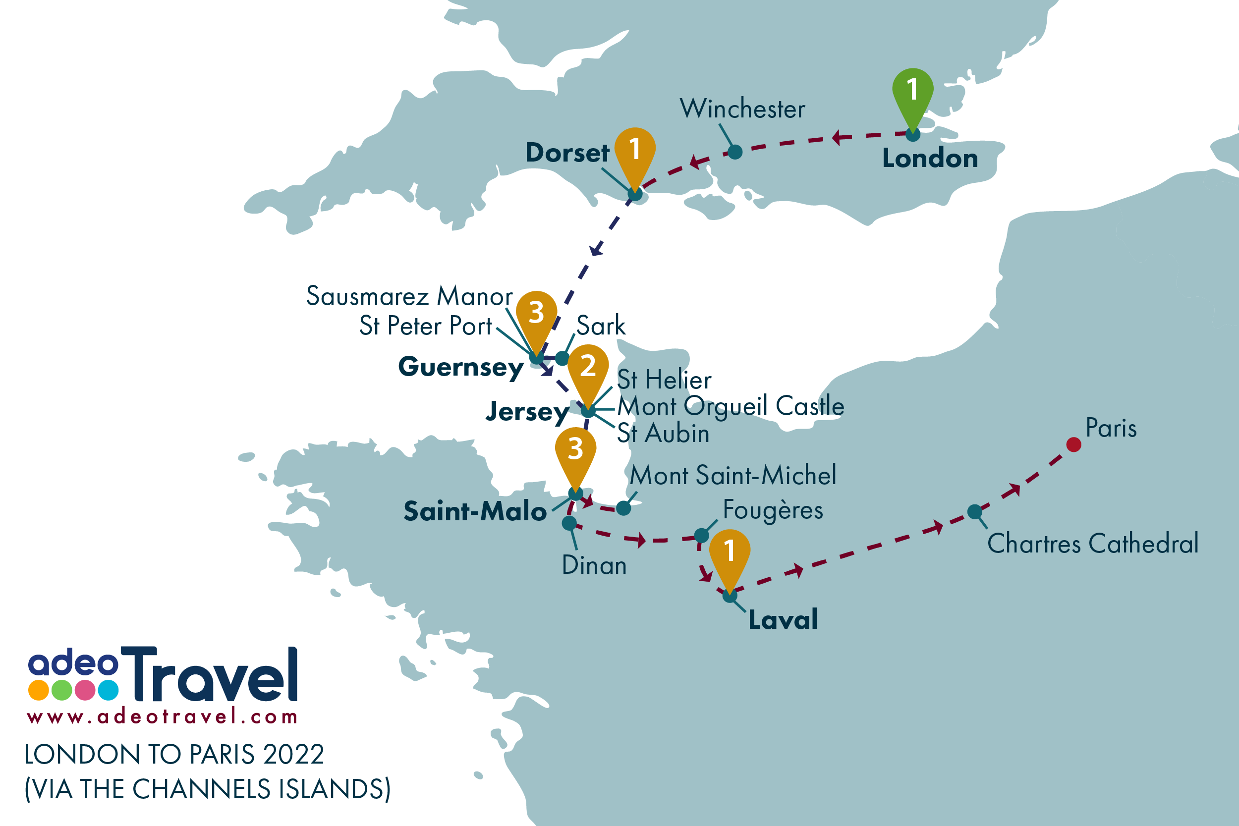 Map - London to Paris via the Channel Island 2022-01