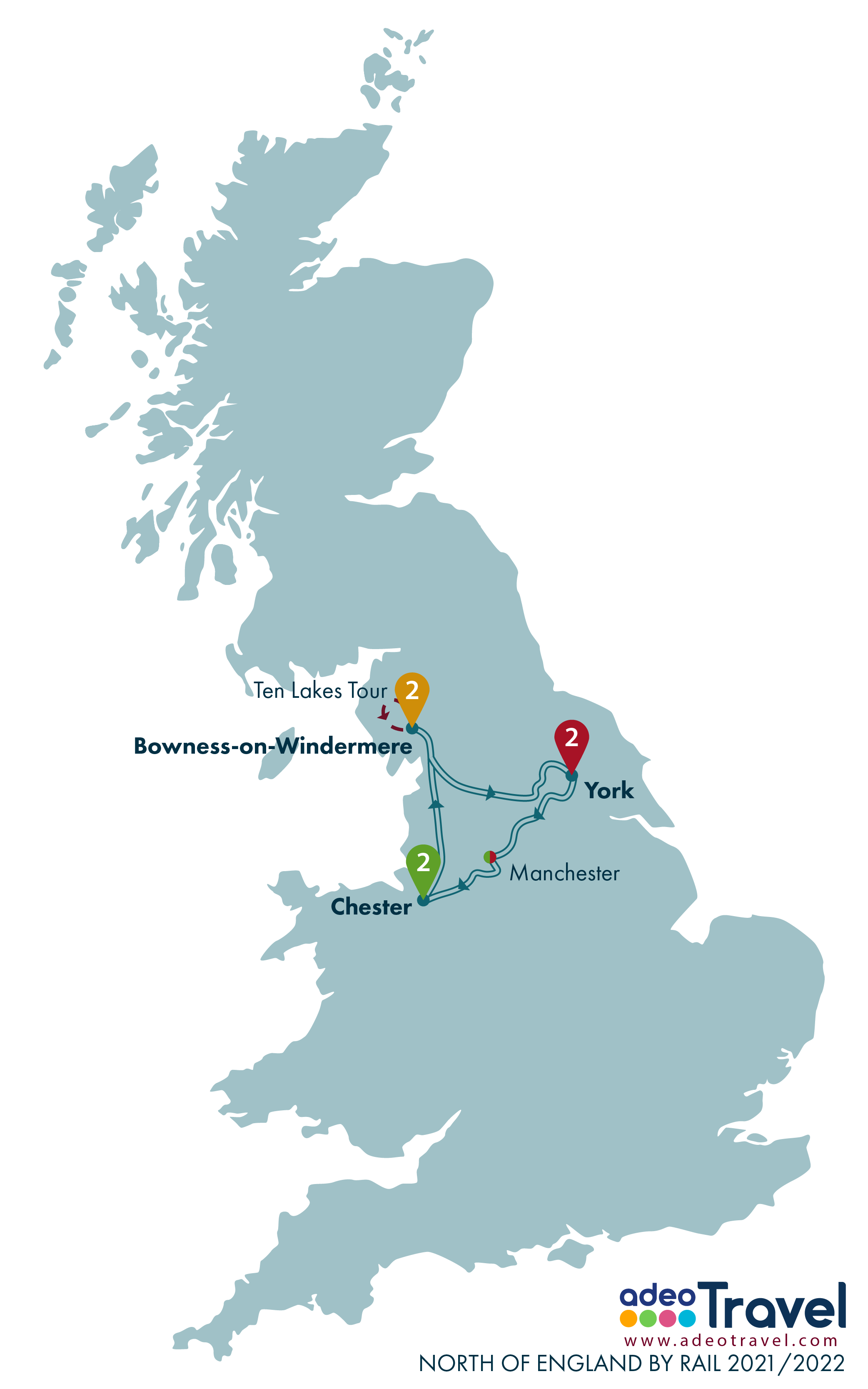 Map - North of England by Rail 2021 2022 + day tours