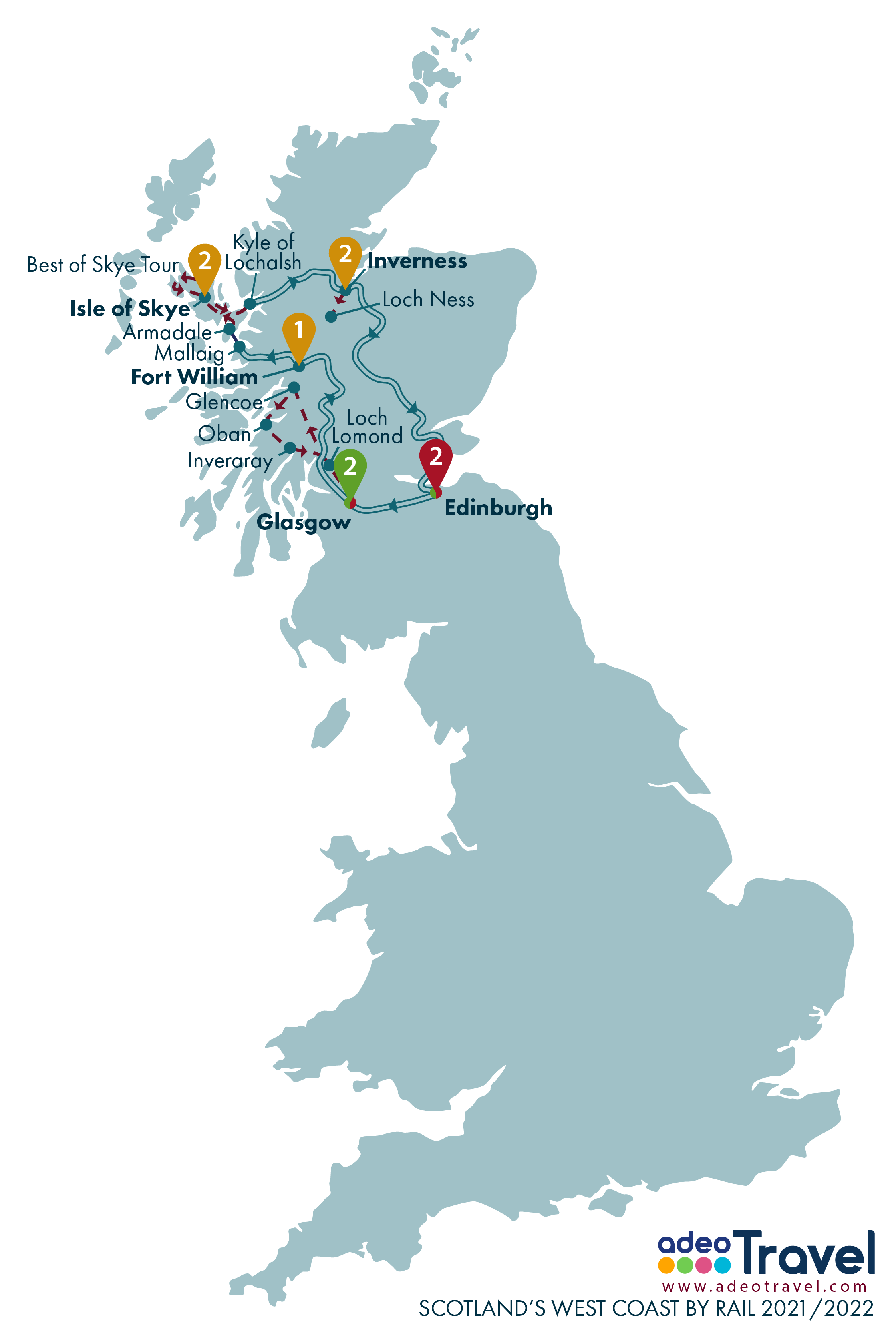 Map - Scotland's West Coast by Rail 2021 2022 + day tours
