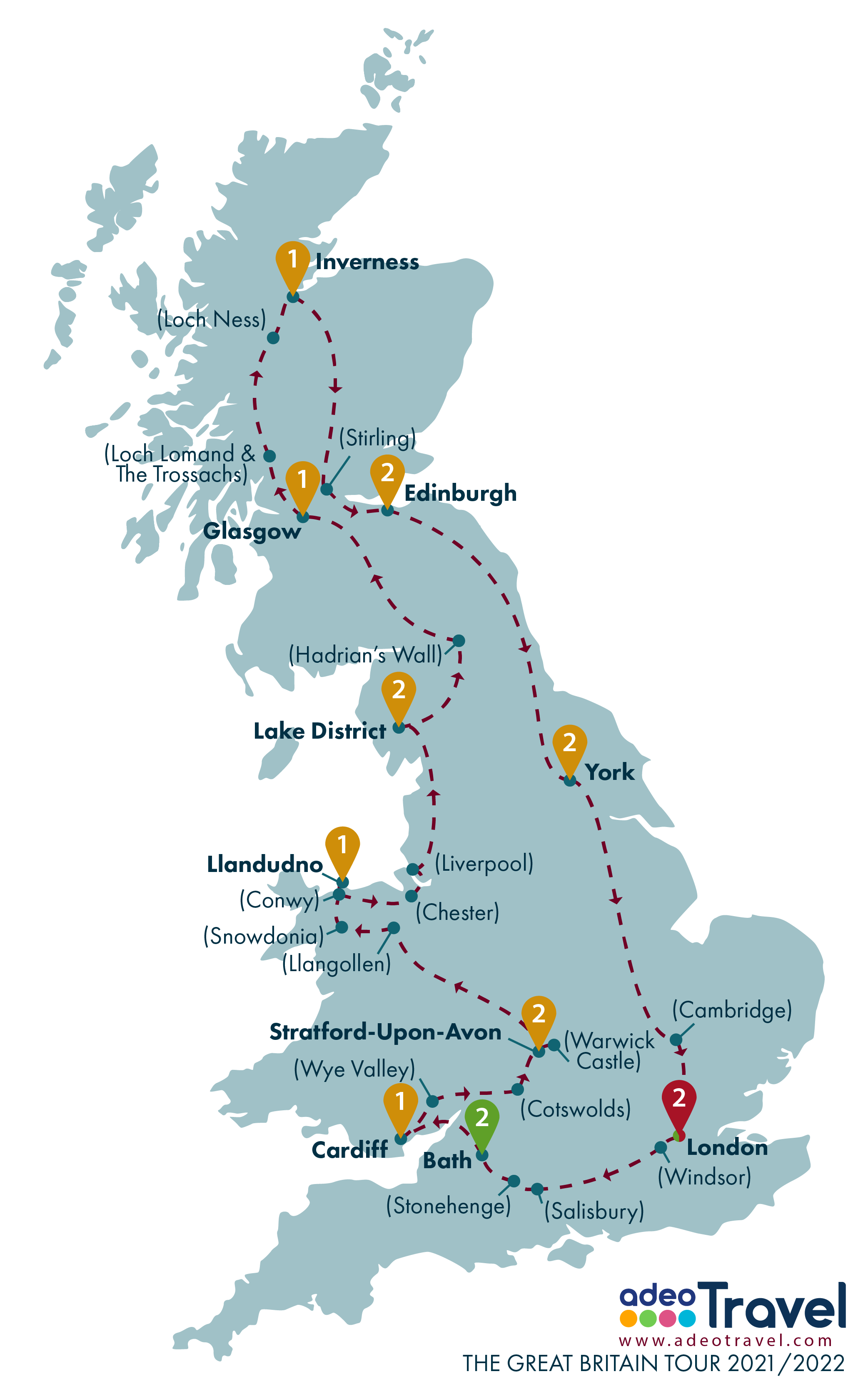 Map - The Great Britain Tour 2021 2022