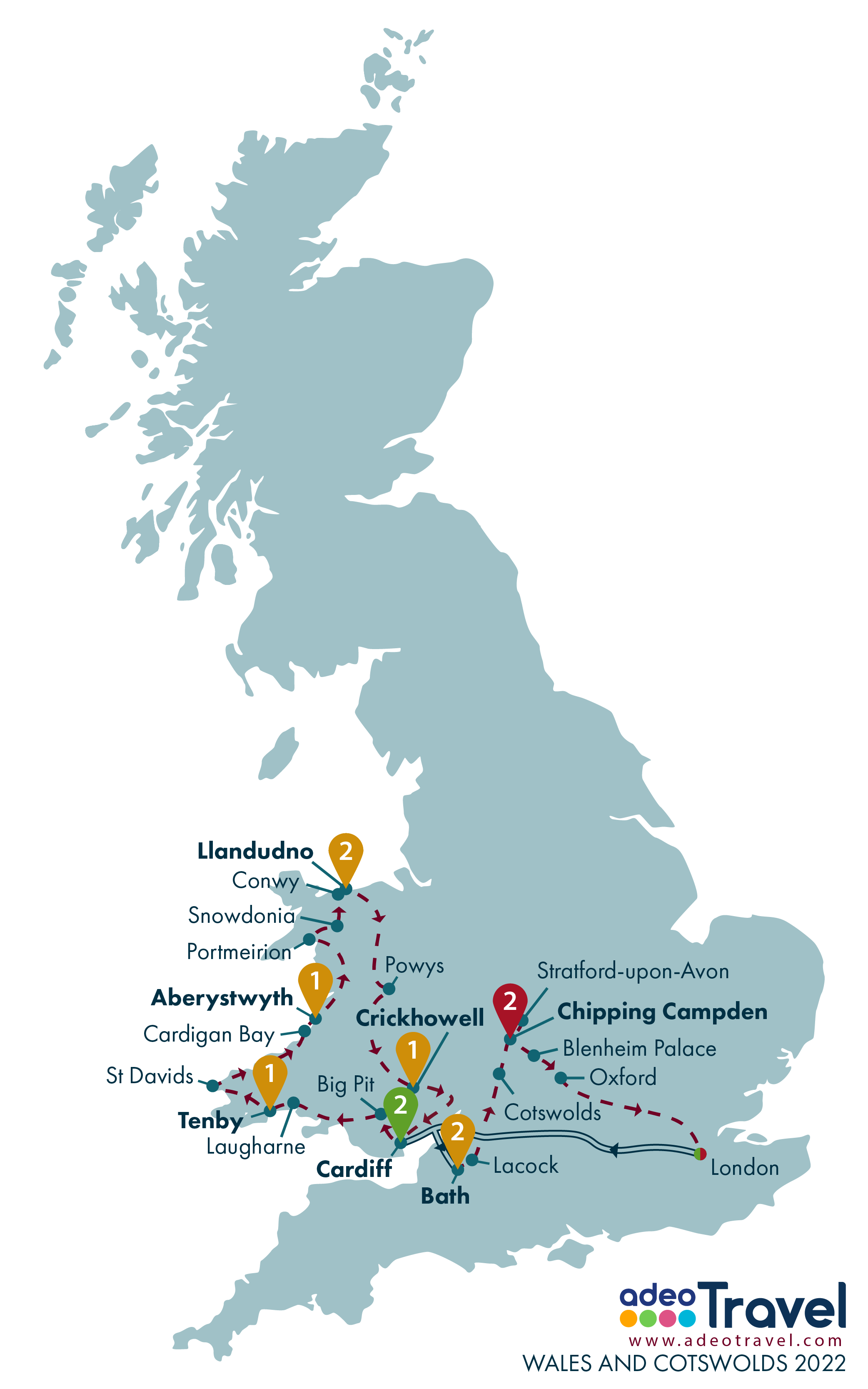 Map - Wales and Cotswolds 2022